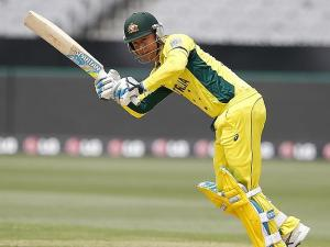 Michael CLarke batting is way to a terrific 64 in Australia's warm up match against UAE. photo credit- Wayne Ludbey.